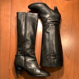 Frye Tina Tall Black Leather Pleated Boots